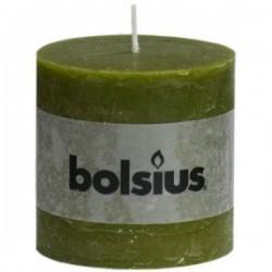 Bolsius rustieke kaars in de kleur olijfgroen